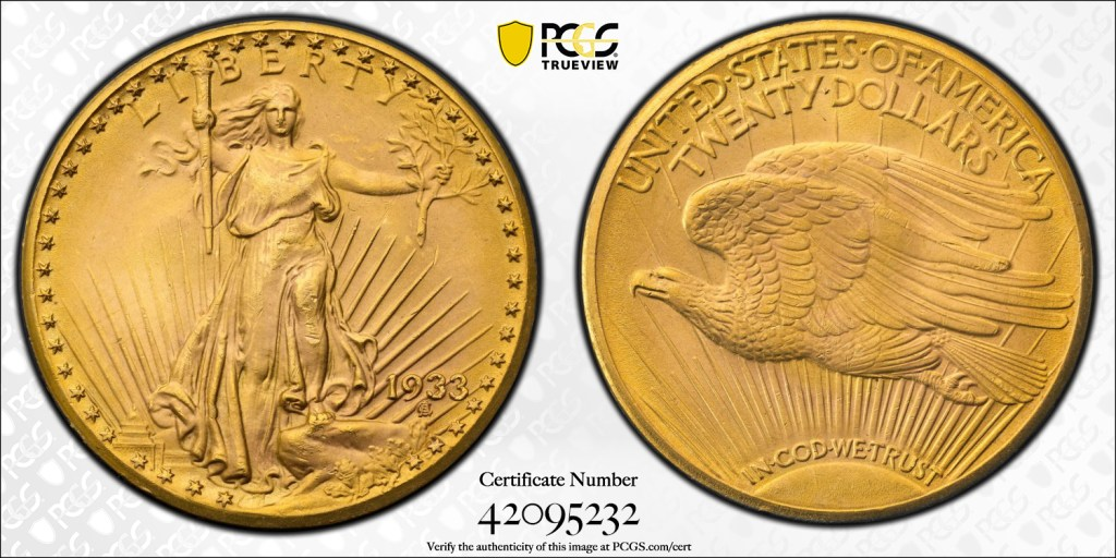 1933 Saint-Gaudens $20 PCGS MS65