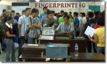Students being fingerprinted
