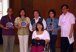 Awardees (from left): Regnard Raquedan, Eloisa San Mateo, Sis. Agnetia Naval, Anna Monica Esguerra, Jojo Esposa and NCDA Director Geraldine Ruiz.