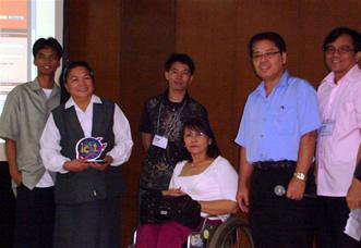 From Left: Deaf Web Designer Kerwin Tamanu, Liliane National Coordinator Sis. Agnetia Naval, Rene Orense, NCDA Executive Director Geraldine Ruiz, NCDA Chief Rizalio Sanchez and Jojo Esposa.