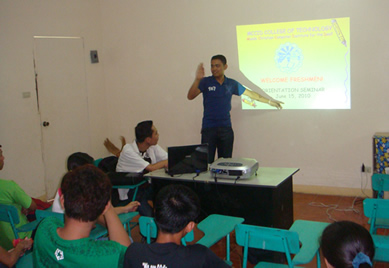 Sir Jerome orients students in Tiaong, Quezon.