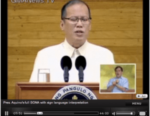 Pres. Noy's SONA with Sign Language Inset