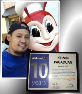 Kelvin pose with Jollibee and Certificate of Recognition