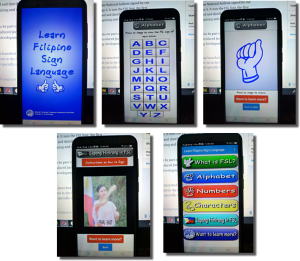 Screenshots of MCCID Filipino Sign Language Android App