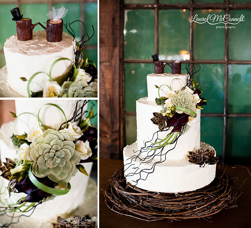 30 succulent wedding cake next wood      Laurel McConnell Photography 30 succulent wedding cake next wood
