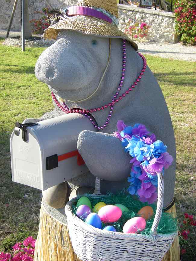 manatee mailbox in Florida Keys decorated for Easter