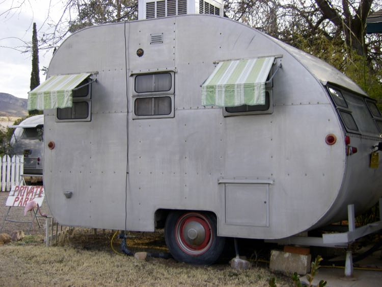 small vintage trailer at Shady Dell