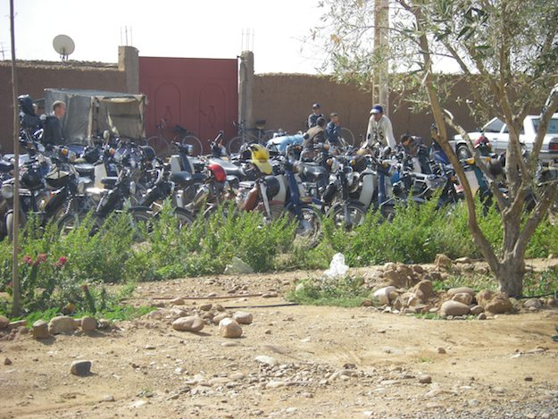 motorcycle parking at a Morocco Market