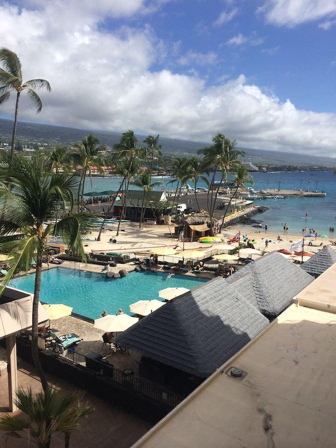 view from balcony at Kona Beach Hotel
