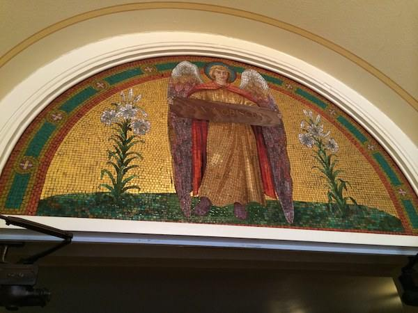 mosaic tile art at St. Anne's Church