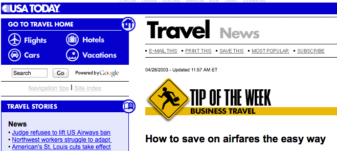 Save on Airfares by Charles McCool in USA Today