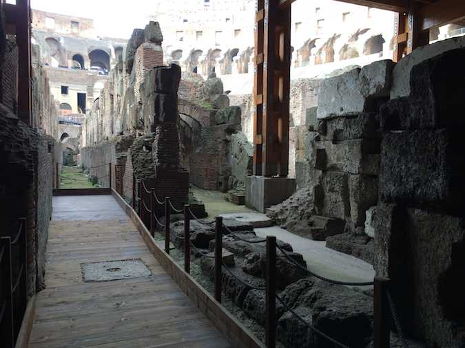 view from the lower level of the Rome Colosseum