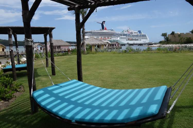 view of Carnival cruise ship from a hammock