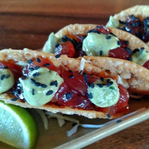 amazing fish tacos in US: Monkeypod Kitchen in Maui, Hawaii