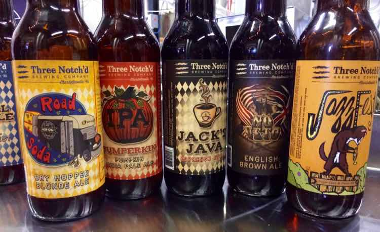 various beer bottles at Three Notch'd Brewing Company