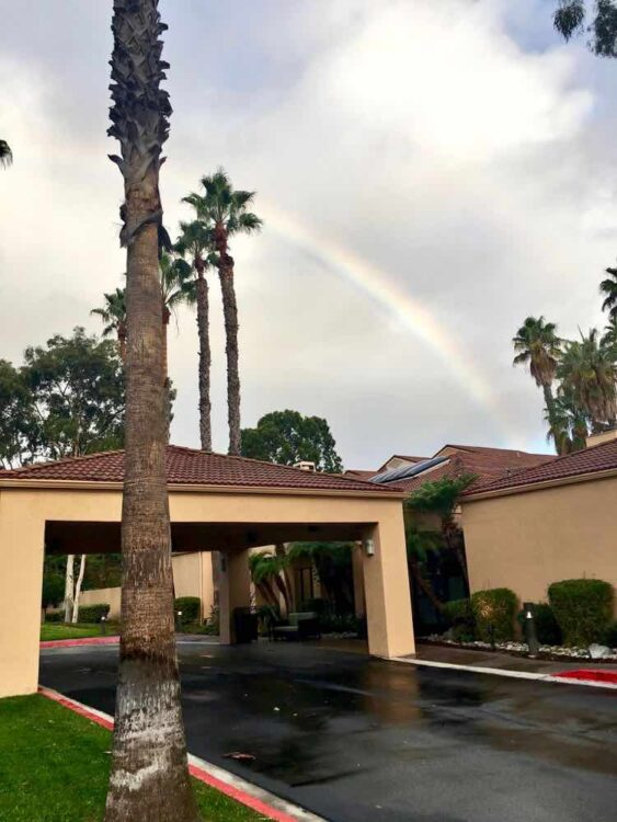 rainbow over Courtyard Marriott in Torrance
