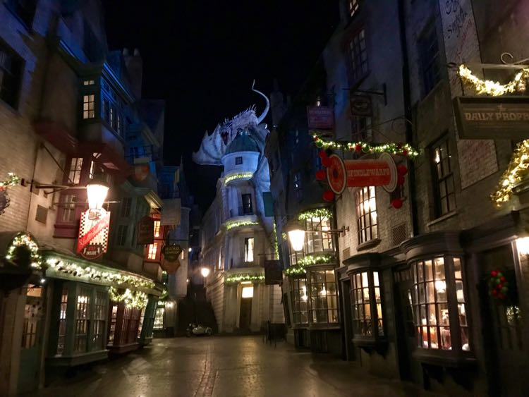 Diagon Alley dressed for a Harry Potter Christmas at Universal Orlando Resort, Florida
