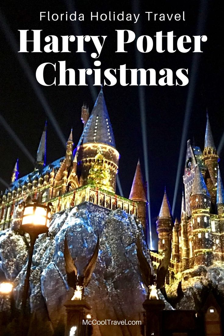 Florida Holiday US Travel | Harry Potter Christmas festivities transform the Wizarding World at Universal Orlando Resort with holiday decorations, music, and a spectacular light show.