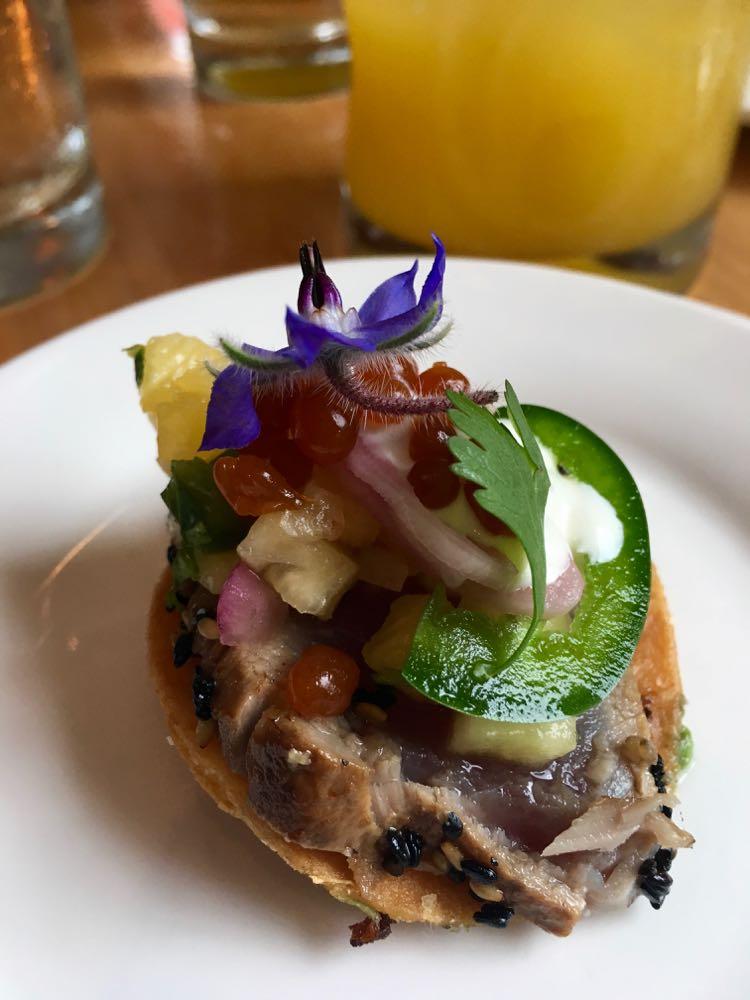 mini tuna tostada at Savorez in Wilmington NC