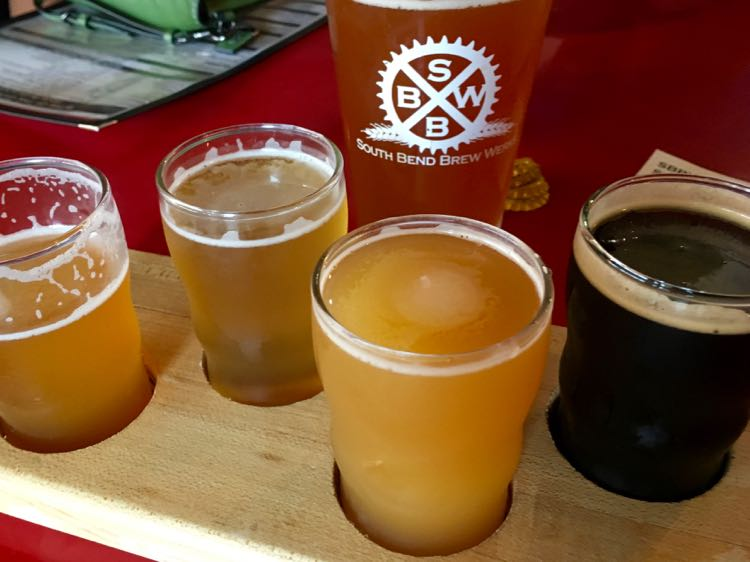 colorful beer flight at South Bend Brew Werks