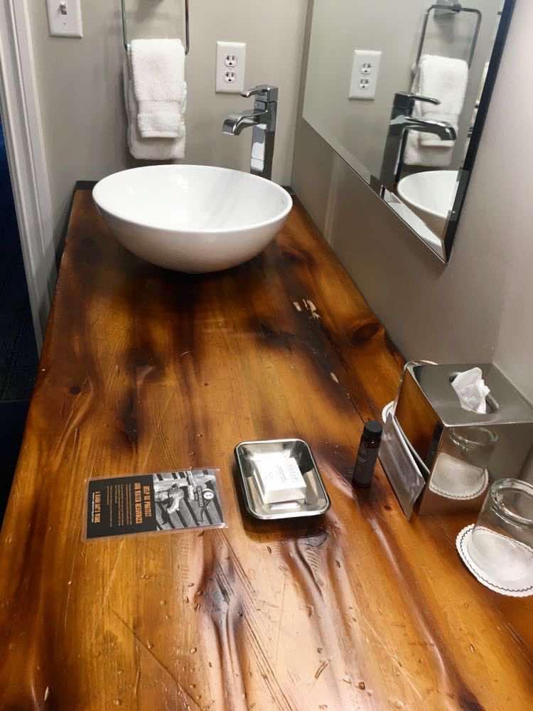 amazing wooden bathroom counter top at Ironworks Hotel Beloit