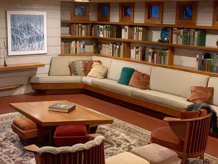 Frank Lloyd Wright designed living room at Mantyla in Polymath Park