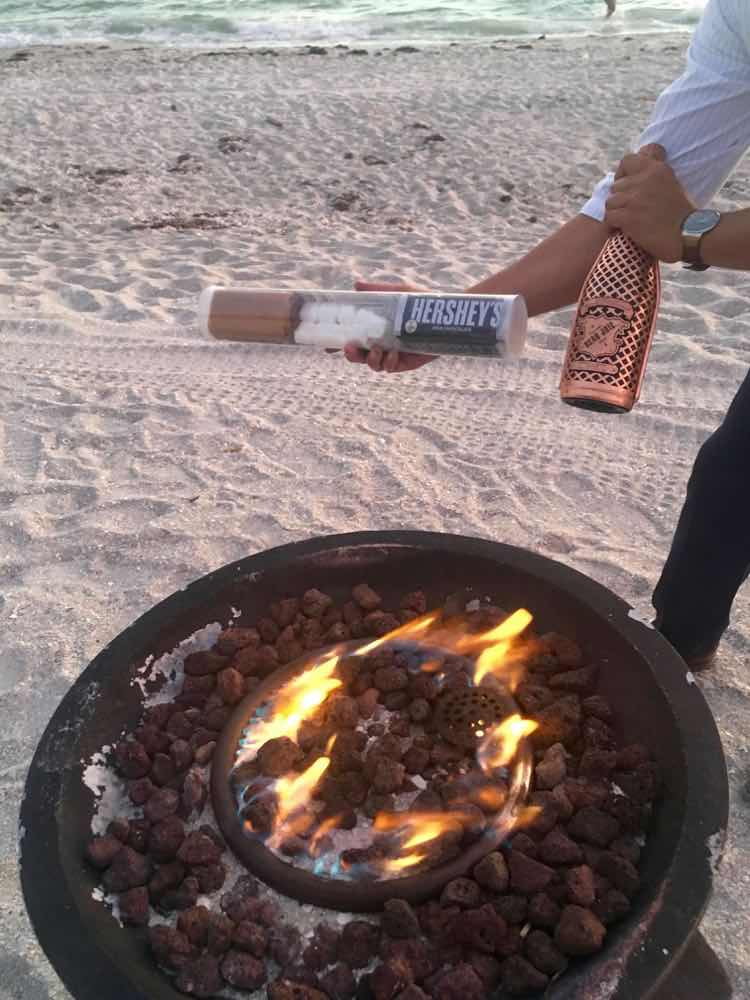 #treatyoself to s'mores and champagne on the beach