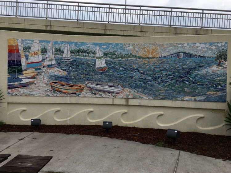 Biloxi Bay Bridge mosaic art by Elizabeth Veglia