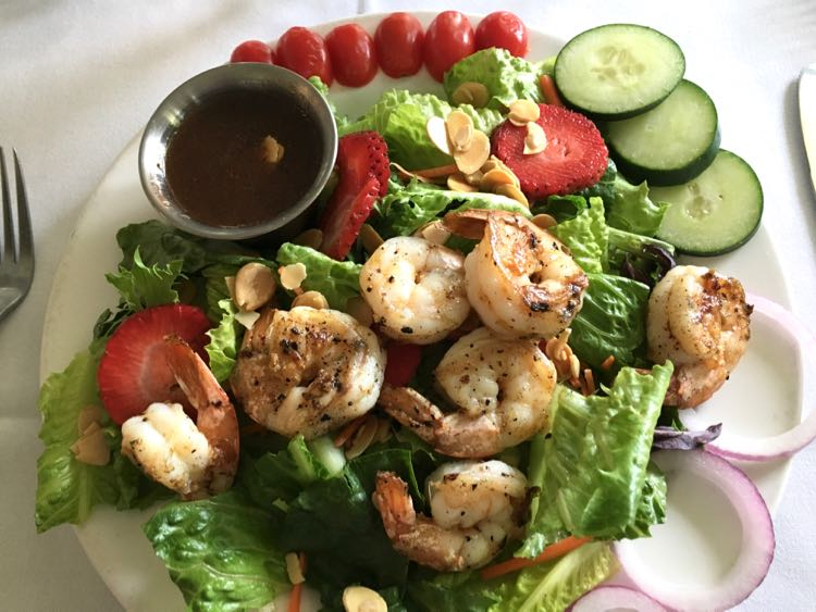 grilled shrimp salad at The Chimneys in Gulfport MS