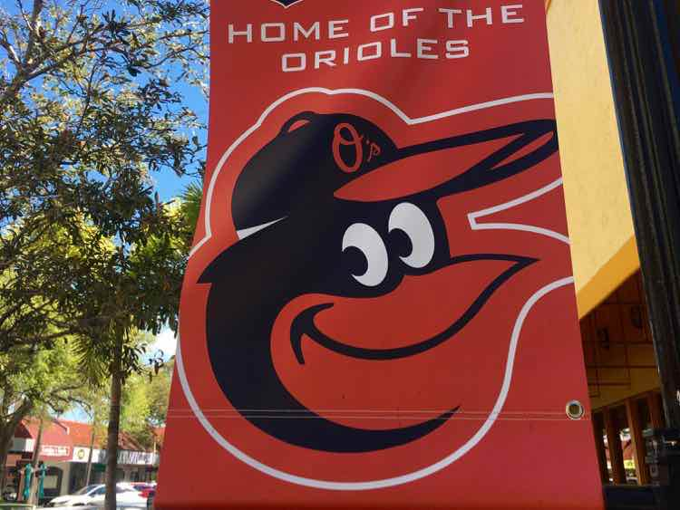Home of the Orioles banner for Spring Training
