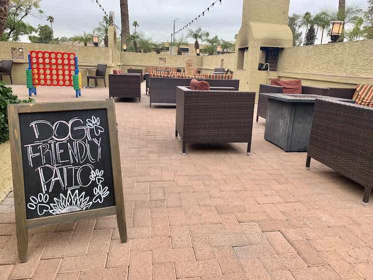 dog friendly patio at Rico's American Grill