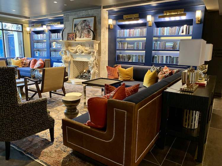 The Burgess Hotel lobby features international decor, at the first boutique hotel in the Buckhead neighborhood of Atlanta.