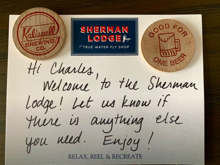 welcome note at The Sherman Lodge