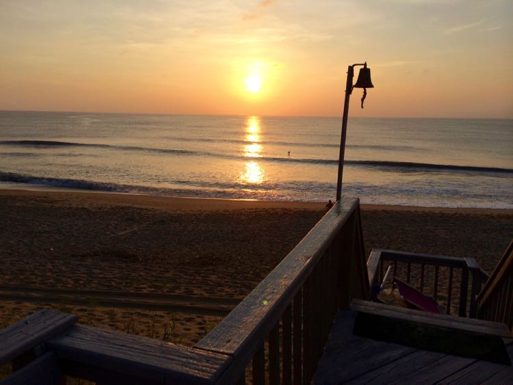sunrise from Outer Banks vacation rental house dock