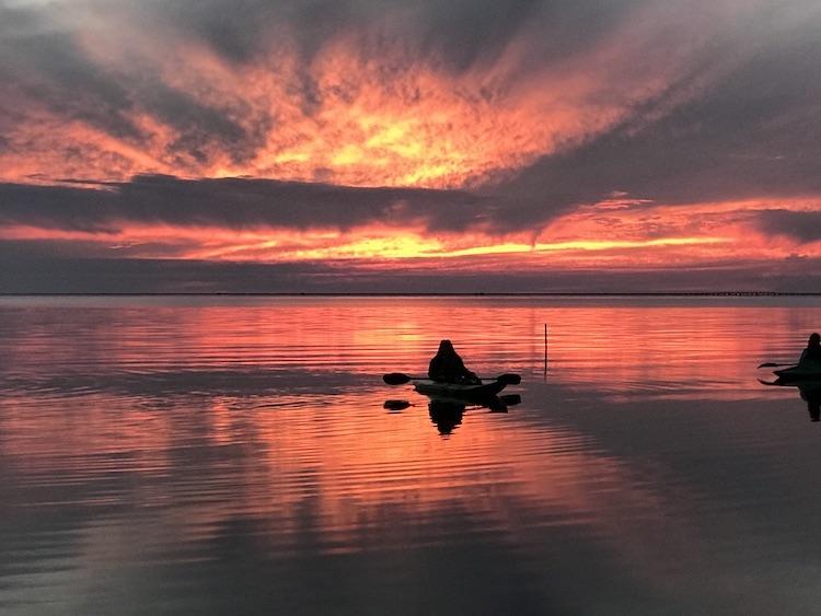 colorful sunset over Lake Pontchartrain