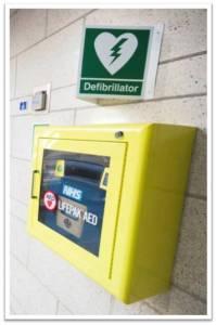 Defibrillator in cabinet