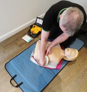 Applying defib pads