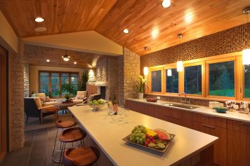 Indoor outdoor kitchen building remodel