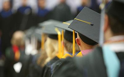 Rows of college graduates