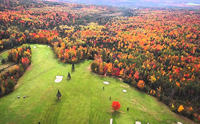 Aerial view of a golf course in the Fall