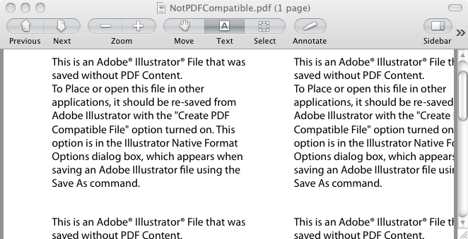 File says over and over that it was saved without PDF content