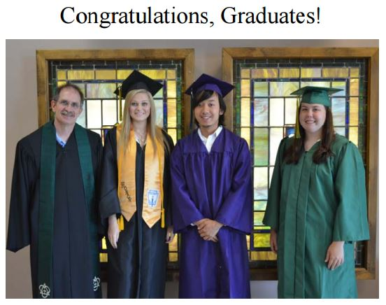The Rev. Paul Haywood , minister of youth, poses with 2015 graduates Kylin Condrey, Kevin Mai and McKenzie Jones. Not pictured are AnnaClaire Hancock and Michael Le Nguyen.
