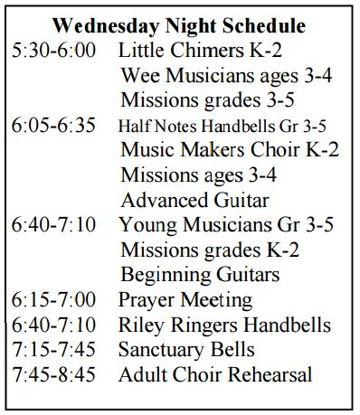 wednesday night schedule 2015