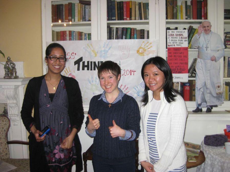 Newman's THINKfast organization team: Anita, Katie and Victoria.