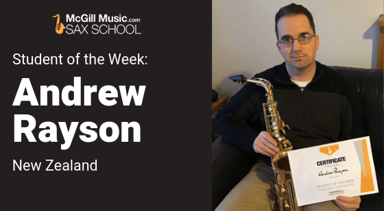 Andrew is Sax School Student of the Week playing saxophone in a band as an adult learner.