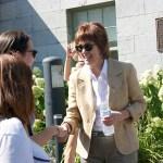 Principal Heather Munroe-Blum greets students outside of James Admin. (Alexandra Allaire / McGill Tribune)