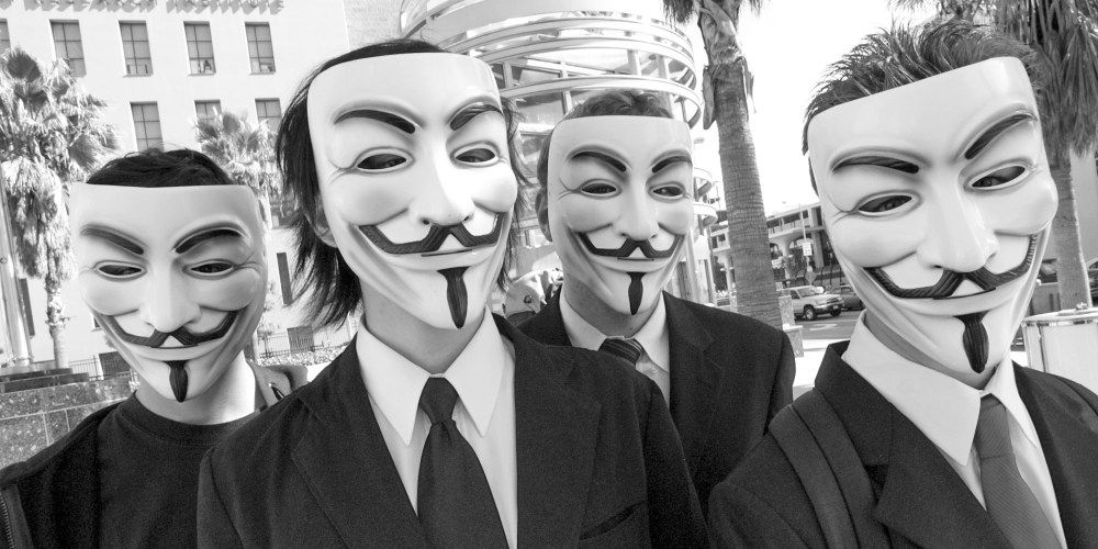 Members of Anonymous at a protest in Los Angeles. (Vincent Diamante / Wikipedia Commons)