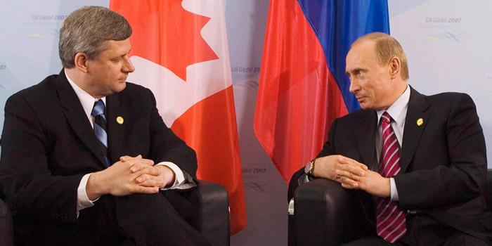 Stephen Harper and Vladimir Putin