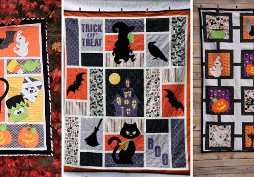 tricks and treats, positively bootiful, and halloween lattice blankets