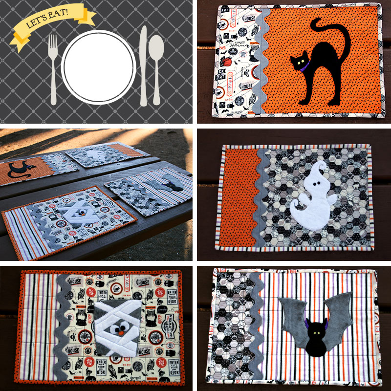 halloween placemats with appliques